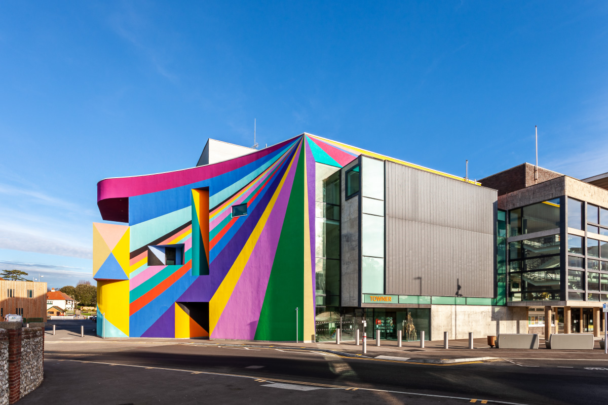 gallery exterior painted with colourful graphic pattern