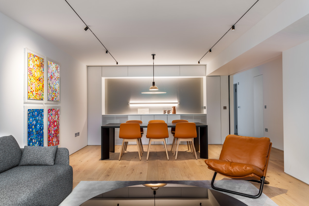 minimalist flat interior; loung and dining area