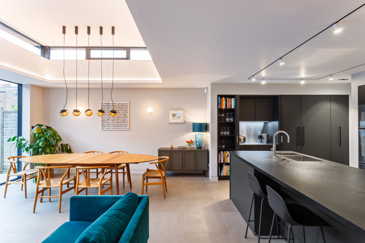 kitchen and dining area in flat extension
