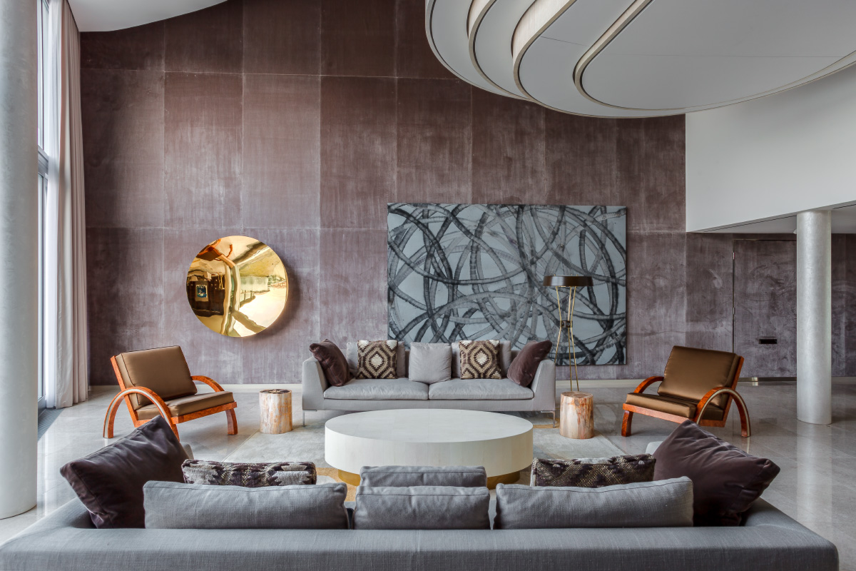 luxury flat lounge interior with artworks